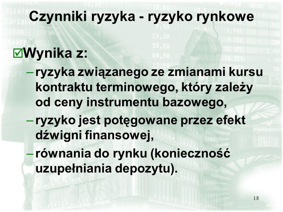 18 þ Wynika z: –ryzyka związanego ze zmianami kursu kontraktu terminowego, który zależy od ceny instrumentu bazowego, –ryzyko jest potęgowane przez efekt dźwigni finansowej, –równania do rynku (konieczność uzupełniania depozytu).