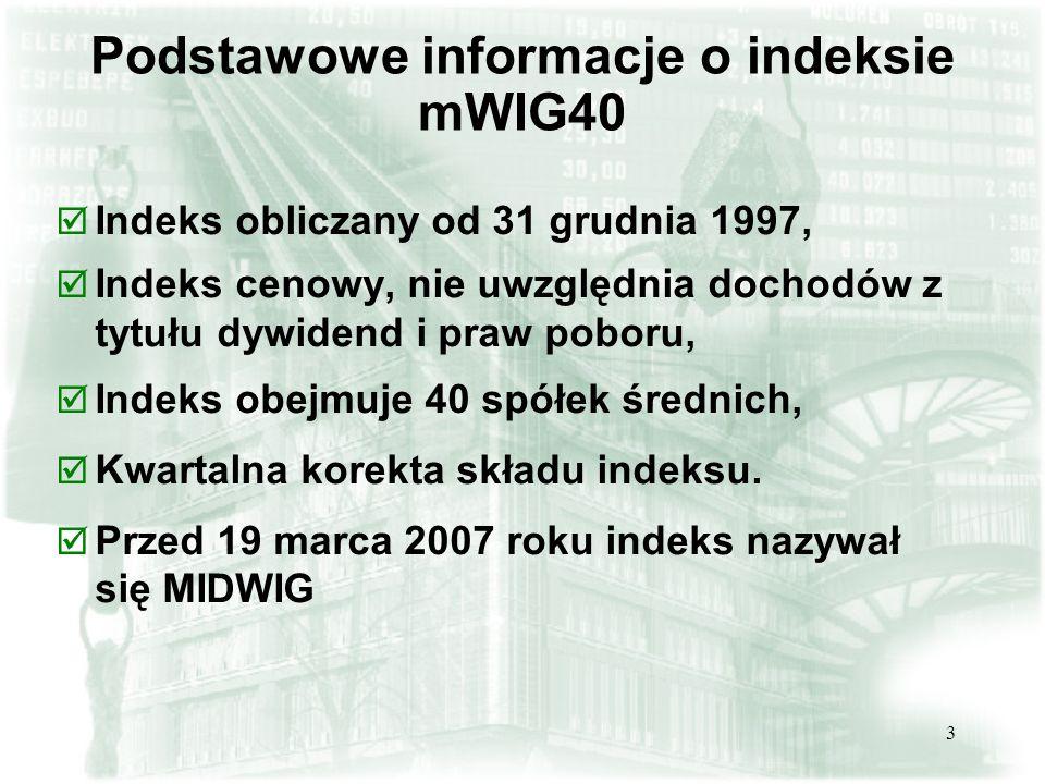 3 Podstawowe informacje o indeksie mWIG40 þ Indeks obliczany od 31 grudnia 1997, þ Indeks cenowy, nie uwzględnia dochodów z tytułu dywidend i praw poboru, þ Indeks obejmuje 40 spółek średnich, þ Kwartalna korekta składu indeksu.