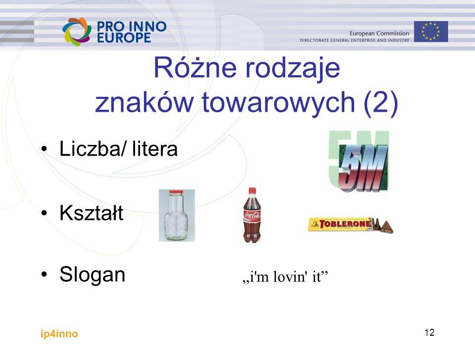 """ip4inno 12 Różne rodzaje znaków towarowych (2) Liczba/ litera Kształt Slogan """"i m lovin it"""