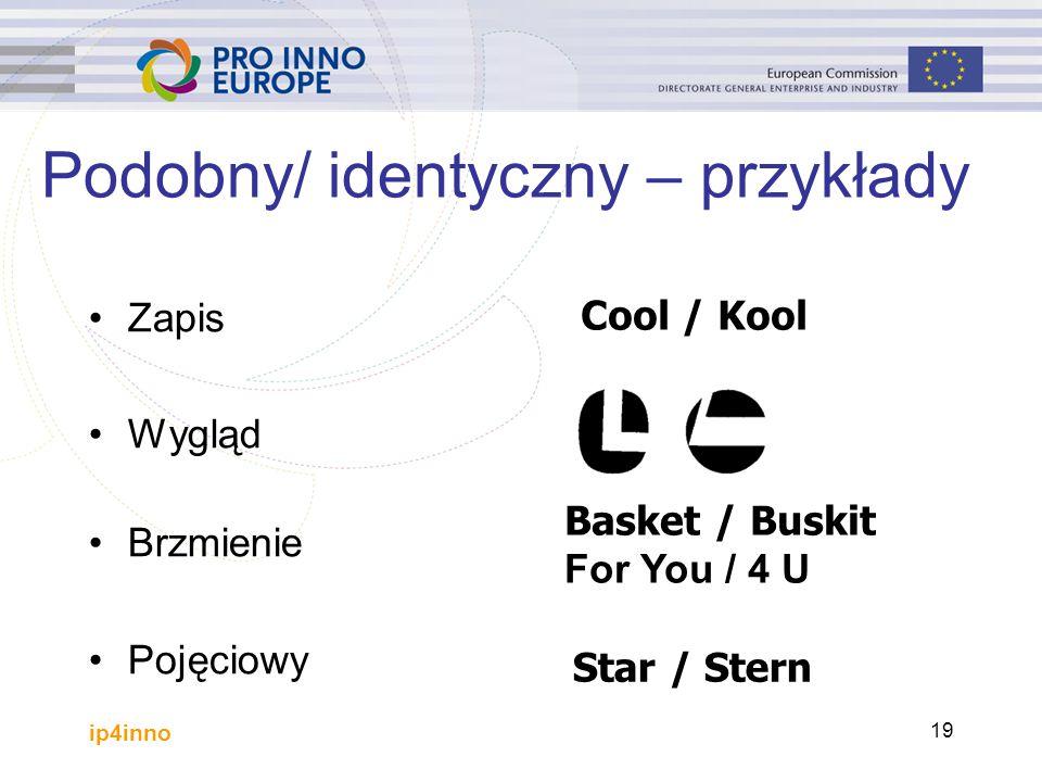 ip4inno 19 Podobny/ identyczny – przykłady Zapis Wygląd Brzmienie Pojęciowy Cool / Kool Basket / Buskit For You / 4 U Star / Stern