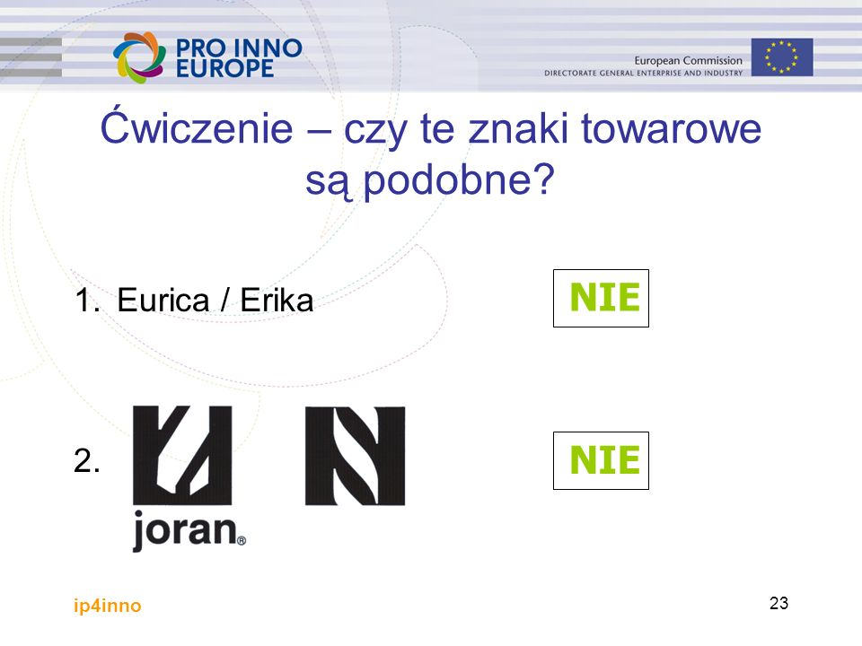 ip4inno 23 1.Eurica / Erika 2. Ćwiczenie – czy te znaki towarowe są podobne? NIE