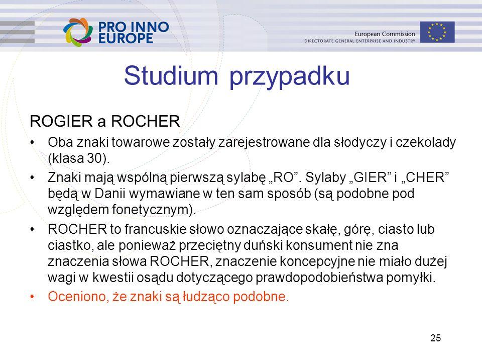 25 Studium przypadku ROGIER a ROCHER Oba znaki towarowe zostały zarejestrowane dla słodyczy i czekolady (klasa 30).