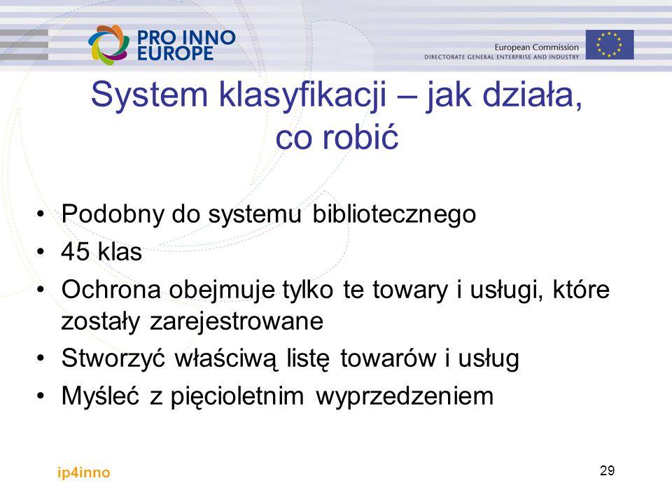 ip4inno 29 System klasyfikacji – jak działa, co robić Podobny do systemu bibliotecznego 45 klas Ochrona obejmuje tylko te towary i usługi, które zostały zarejestrowane Stworzyć właściwą listę towarów i usług Myśleć z pięcioletnim wyprzedzeniem