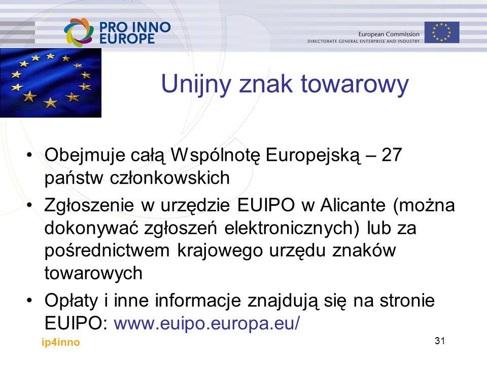 ip4inno 31 Unijny znak towarowy Obejmuje całą Wspólnotę Europejską – 27 państw członkowskich Zgłoszenie w urzędzie EUIPO w Alicante (można dokonywać zgłoszeń elektronicznych) lub za pośrednictwem krajowego urzędu znaków towarowych Opłaty i inne informacje znajdują się na stronie EUIPO: www.euipo.europa.eu/