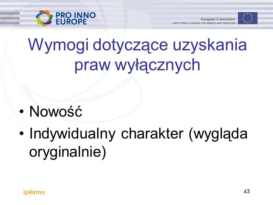 ip4inno 43 Wymogi dotyczące uzyskania praw wyłącznych Nowość Indywidualny charakter (wygląda oryginalnie)