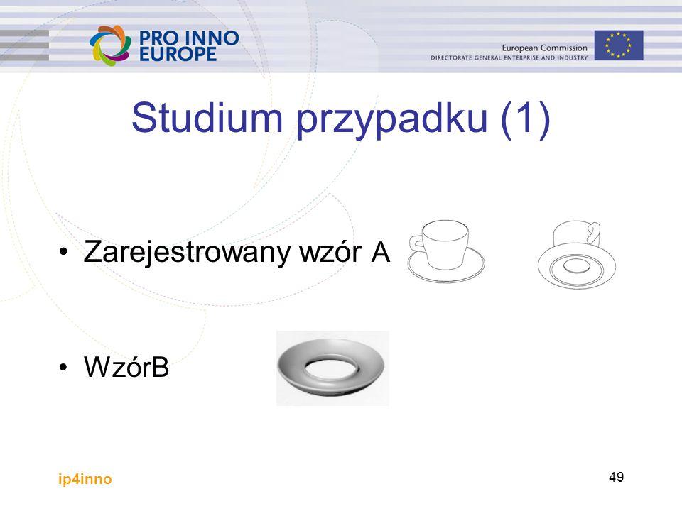 ip4inno 49 Studium przypadku (1) Zarejestrowany wzór A WzórB