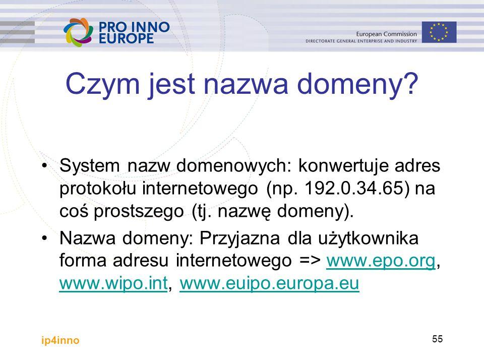 ip4inno 55 System nazw domenowych: konwertuje adres protokołu internetowego (np.