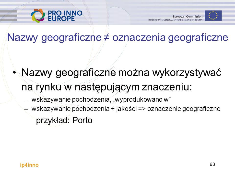 """ip4inno 63 Nazwy geograficzne można wykorzystywać na rynku w następującym znaczeniu: –wskazywanie pochodzenia, """"wyprodukowano w –wskazywanie pochodzenia + jakości => oznaczenie geograficzne przykład: Porto Nazwy geograficzne ≠ oznaczenia geograficzne"""
