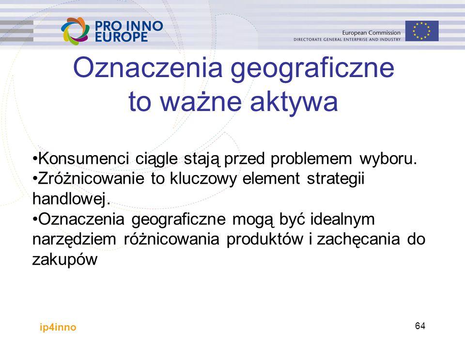 ip4inno 64 Oznaczenia geograficzne to ważne aktywa Konsumenci ciągle stają przed problemem wyboru.