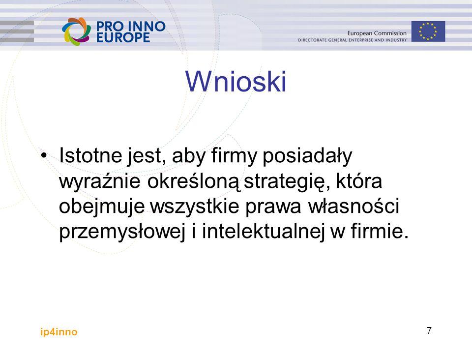 ip4inno 7 Wnioski Istotne jest, aby firmy posiadały wyraźnie określoną strategię, która obejmuje wszystkie prawa własności przemysłowej i intelektualnej w firmie.