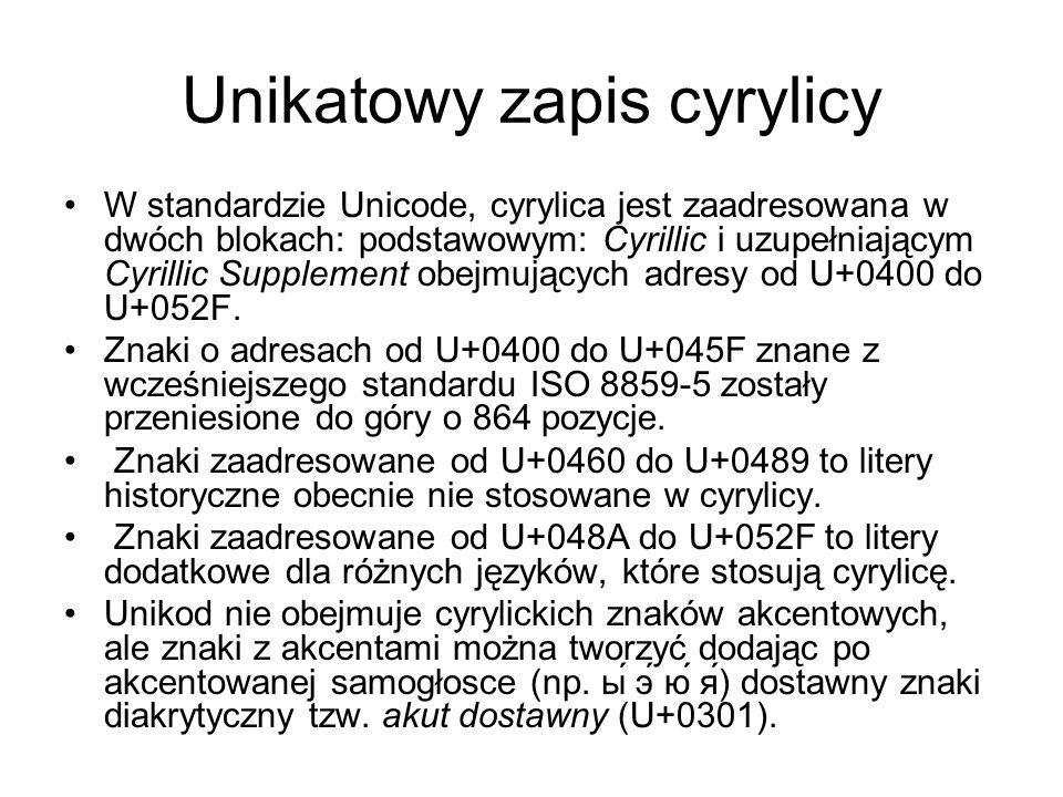 Unikatowy zapis cyrylicy W standardzie Unicode, cyrylica jest zaadresowana w dwóch blokach: podstawowym: Cyrillic i uzupełniającym Cyrillic Supplement obejmujących adresy od U+0400 do U+052F.