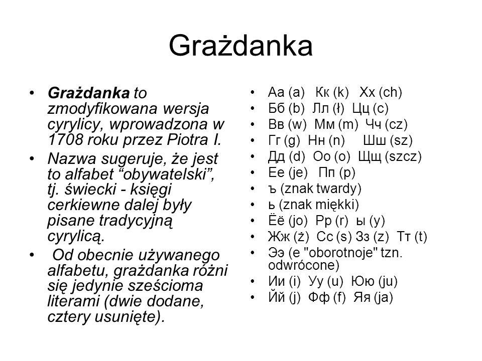 Grażdanka Grażdanka to zmodyfikowana wersja cyrylicy, wprowadzona w 1708 roku przez Piotra I.