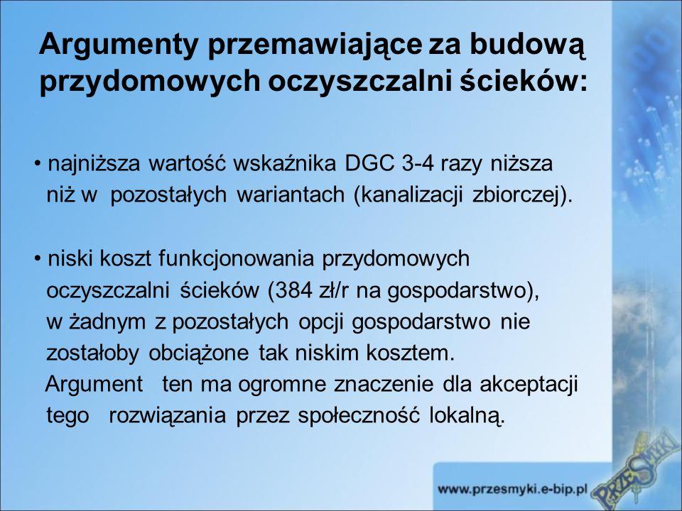 Argumenty przemawiające za budową przydomowych oczyszczalni ścieków: najniższa wartość wskaźnika DGC 3-4 razy niższa niż w pozostałych wariantach (kanalizacji zbiorczej).