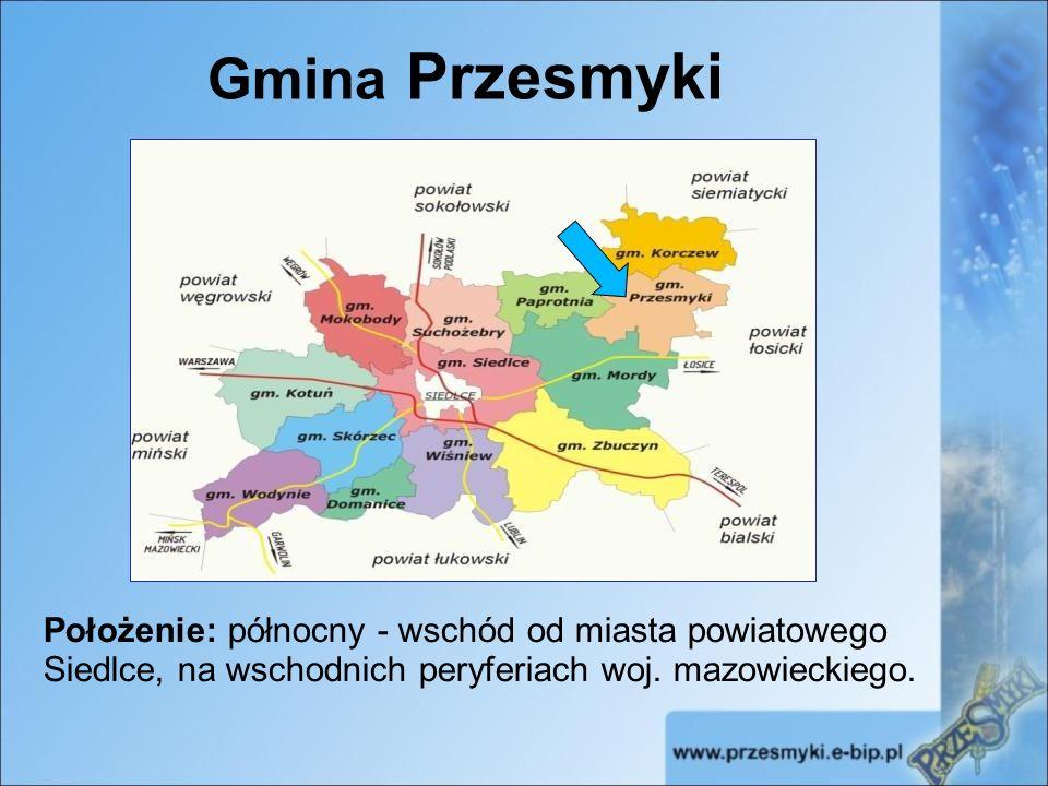 Położenie: północny - wschód od miasta powiatowego Siedlce, na wschodnich peryferiach woj.