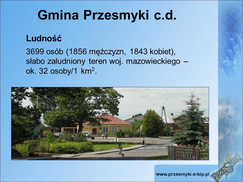 Gmina Przesmyki c.d. Ludność 3699 osób (1856 mężczyzn, 1843 kobiet), słabo zaludniony teren woj.