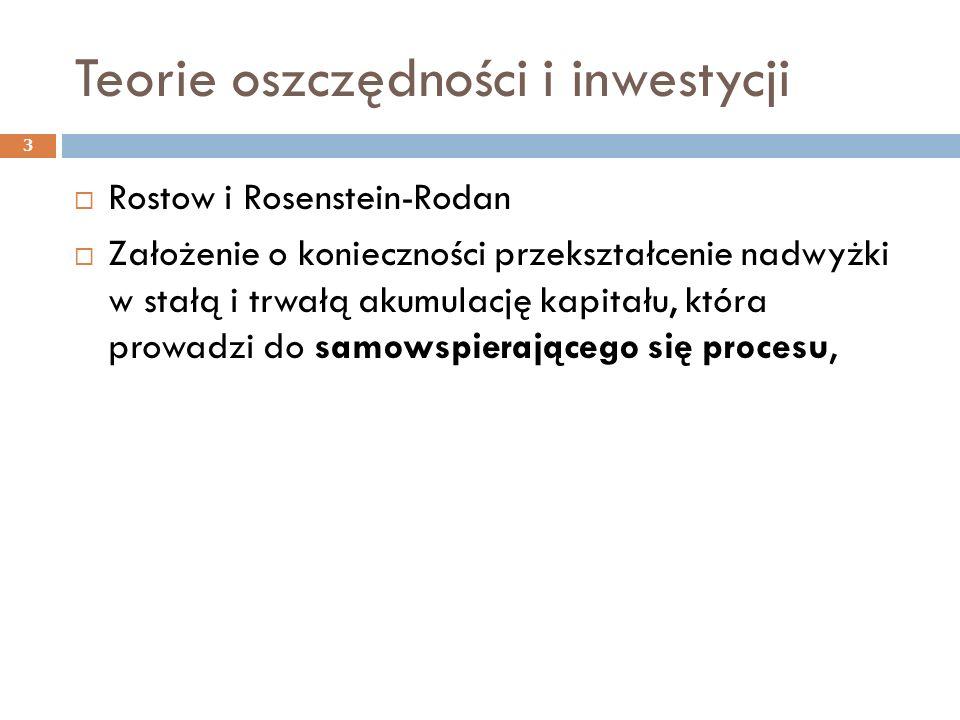 Teorie oszczędności i inwestycji 3  Rostow i Rosenstein-Rodan  Założenie o konieczności przekształcenie nadwyżki w stałą i trwałą akumulację kapitału, która prowadzi do samowspierającego się procesu,