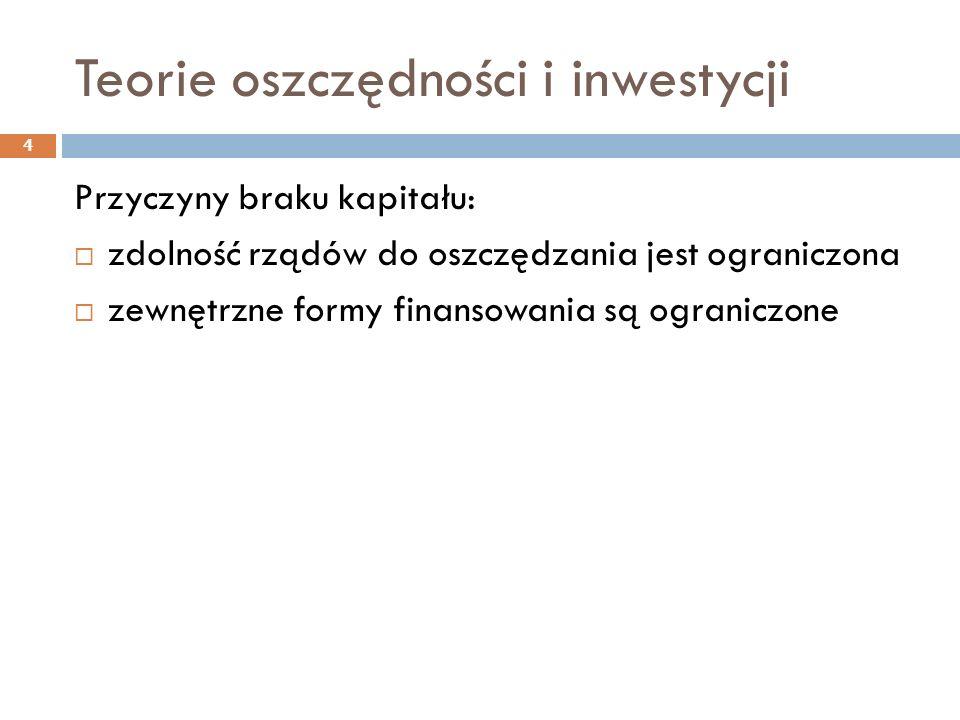 Teorie oszczędności i inwestycji 4 Przyczyny braku kapitału:  zdolność rządów do oszczędzania jest ograniczona  zewnętrzne formy finansowania są ogr