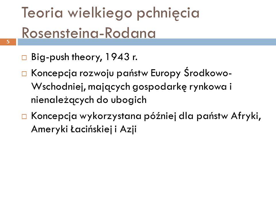 Teoria wielkiego pchnięcia Rosensteina-Rodana  Big-push theory, 1943 r.  Koncepcja rozwoju państw Europy Środkowo- Wschodniej, mających gospodarkę r