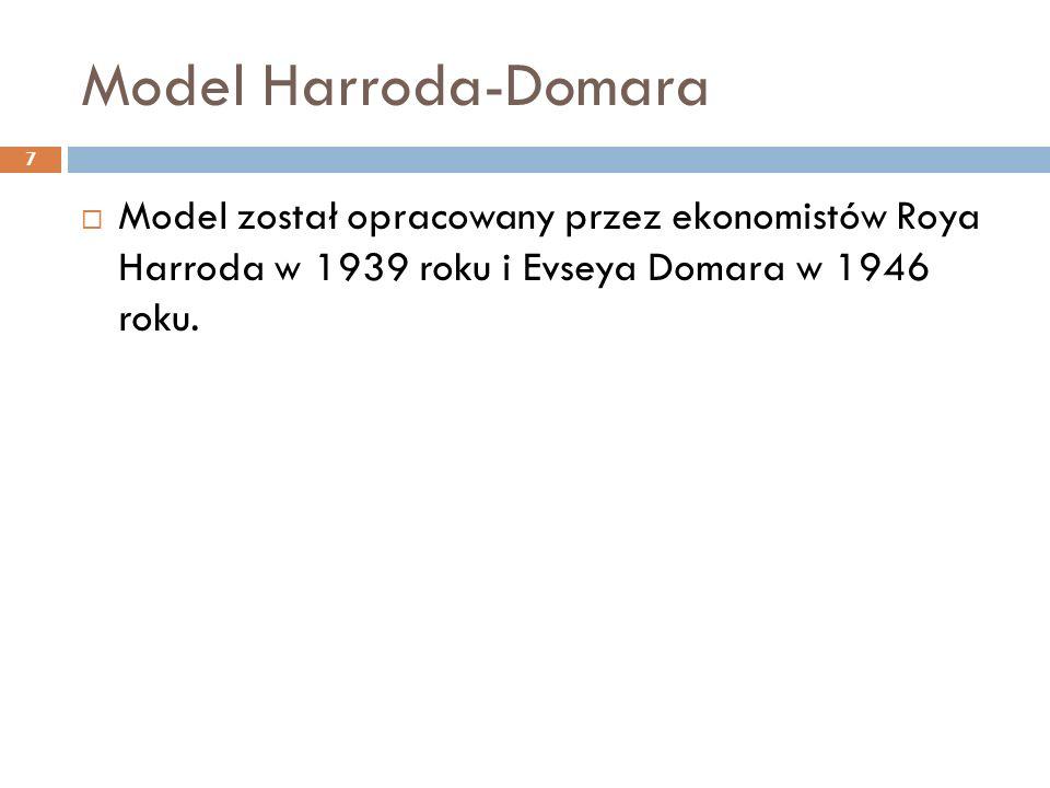 Model Harroda-Domara 8 Założenia:  jednolita struktura produkcji  stały stosunek między zasobem kapitału a dochodem  stały współczynnik kapitałochłonności  brak opóźnień czasowych  pionową integrację gospodarki  brak handlu zagranicznego