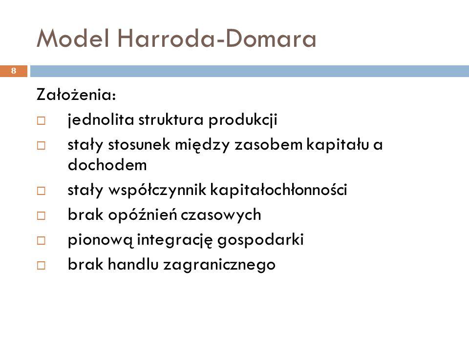 Model Harroda-Domara 8 Założenia:  jednolita struktura produkcji  stały stosunek między zasobem kapitału a dochodem  stały współczynnik kapitałochł
