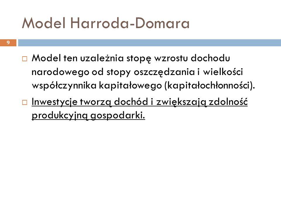 Model Harroda-Domara 9  Model ten uzależnia stopę wzrostu dochodu narodowego od stopy oszczędzania i wielkości współczynnika kapitałowego (kapitałochłonności).