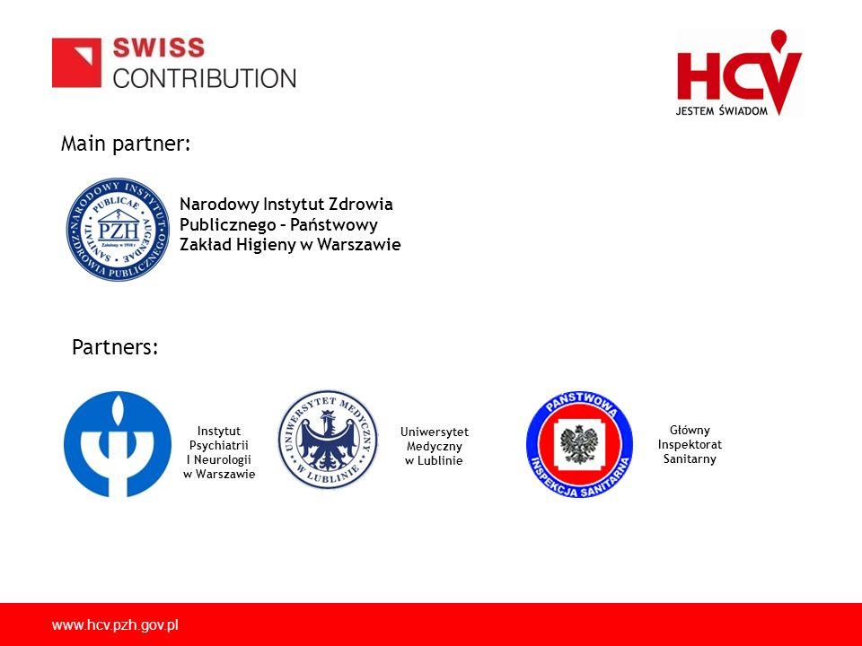 www.hcv.pzh.gov.pl Main partner: Narodowy Instytut Zdrowia Publicznego – Państwowy Zakład Higieny w Warszawie Instytut Psychiatrii I Neurologii w Wars