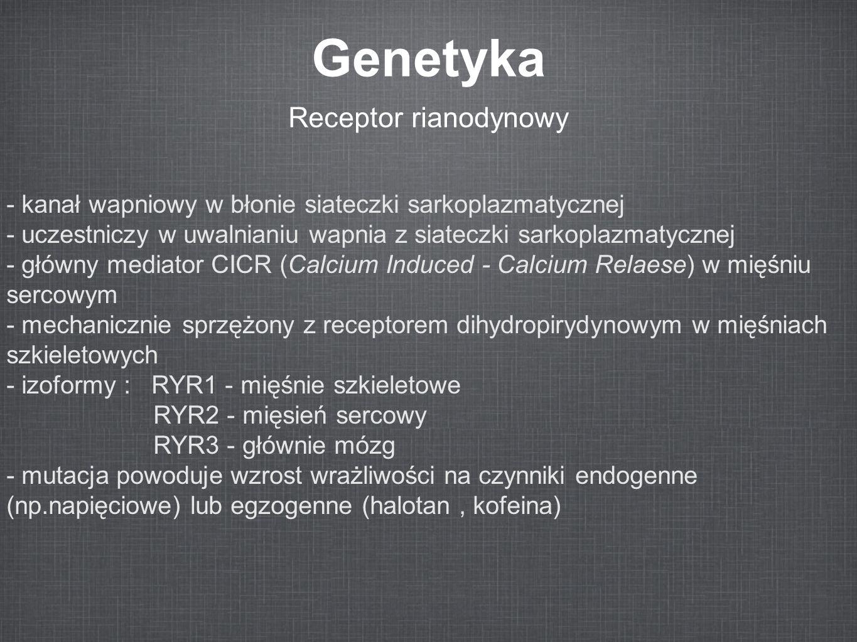 Genetyka Receptor rianodynowy - kanał wapniowy w błonie siateczki sarkoplazmatycznej - uczestniczy w uwalnianiu wapnia z siateczki sarkoplazmatycznej