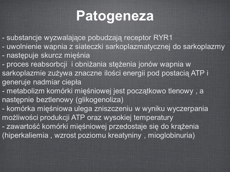 Patogeneza - substancje wyzwalające pobudzają receptor RYR1 - uwolnienie wapnia z siateczki sarkoplazmatycznej do sarkoplazmy - następuje skurcz mięśn