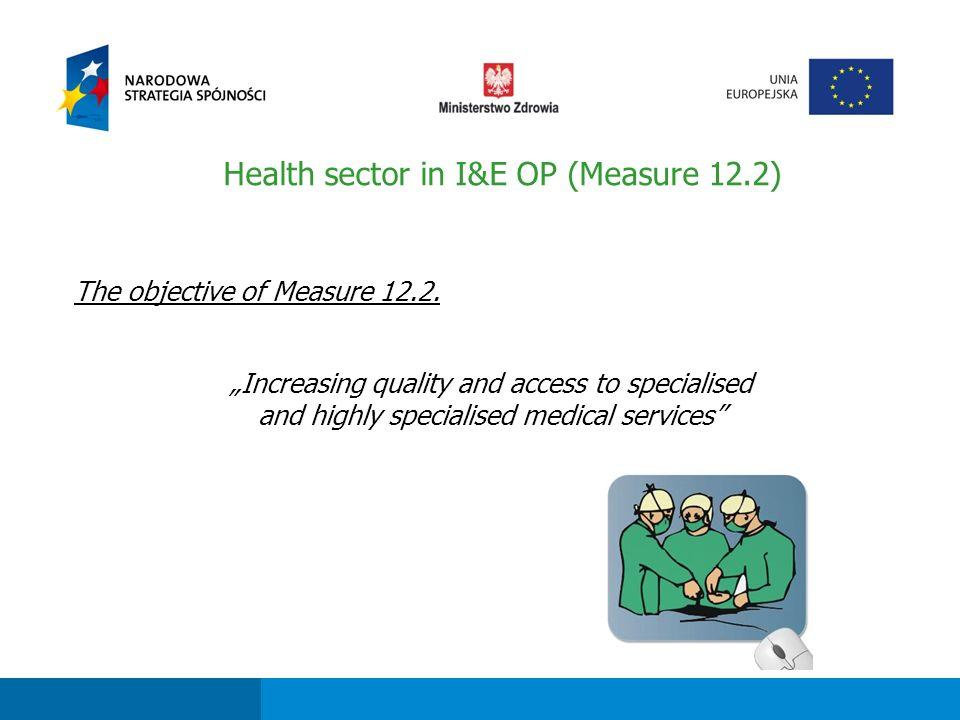 Fundusze strukturalne dla sektora ochrony zdrowia w perspektywie finansowej 2007-2013 The objective of Measure 12.2.