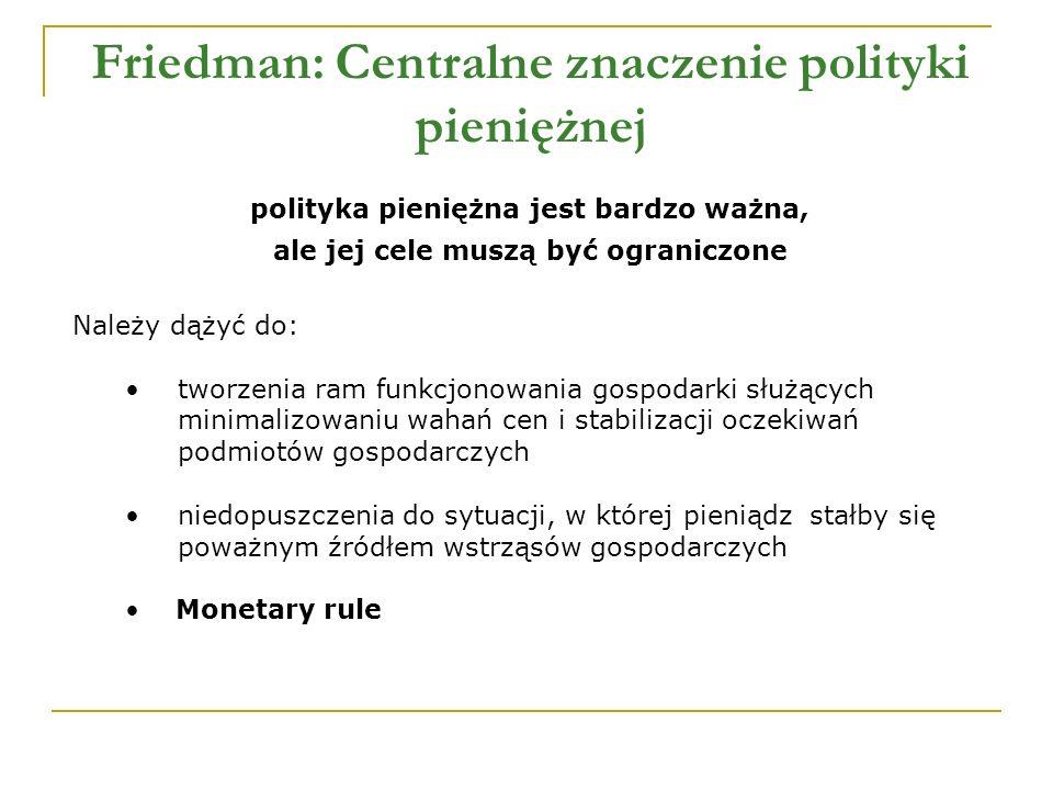 Friedman: Centralne znaczenie polityki pieniężnej polityka pieniężna jest bardzo ważna, ale jej cele muszą być ograniczone Należy dążyć do: tworzenia ram funkcjonowania gospodarki służących minimalizowaniu wahań cen i stabilizacji oczekiwań podmiotów gospodarczych niedopuszczenia do sytuacji, w której pieniądz stałby się poważnym źródłem wstrząsów gospodarczych Monetary rule