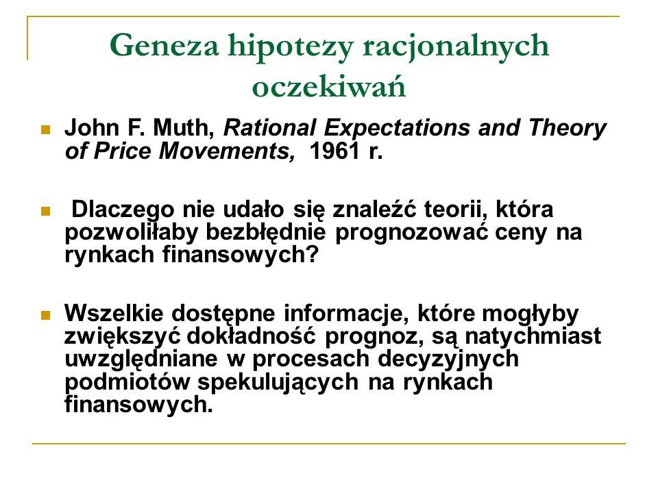 Geneza hipotezy racjonalnych oczekiwań John F.
