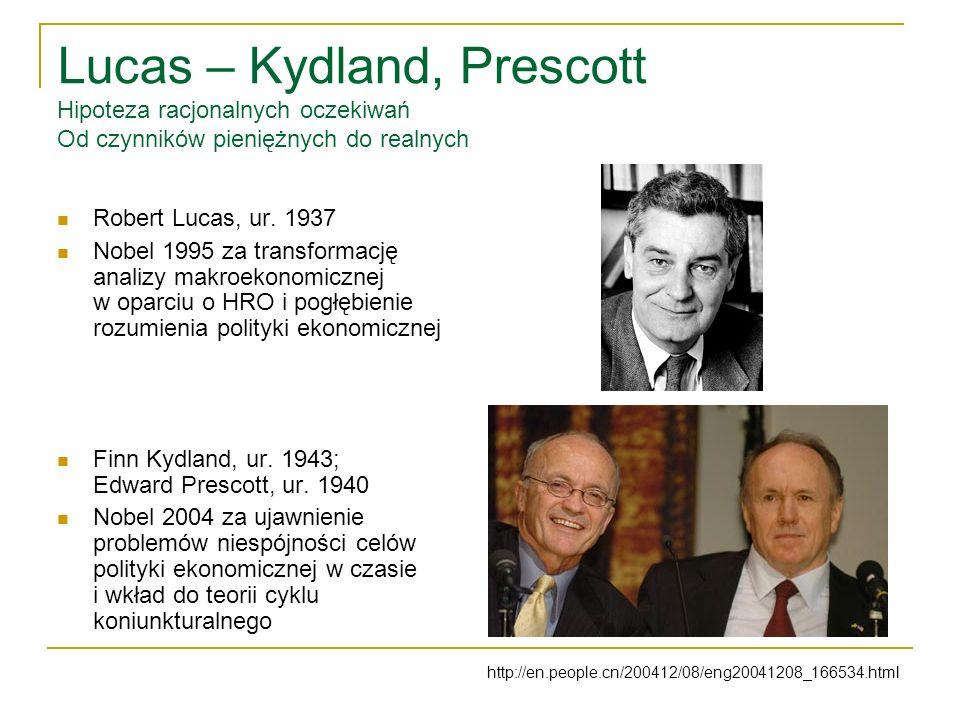 Lucas – Kydland, Prescott Hipoteza racjonalnych oczekiwań Od czynników pieniężnych do realnych Robert Lucas, ur.