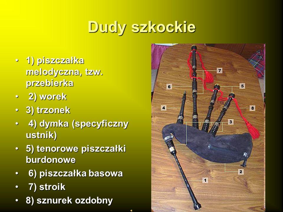 Dudy szkockie 1) piszczałka melodyczna, tzw. przebierka1) piszczałka melodyczna, tzw. przebierka 2) worek 2) worek 3) trzonek3) trzonek 4) dymka (spec