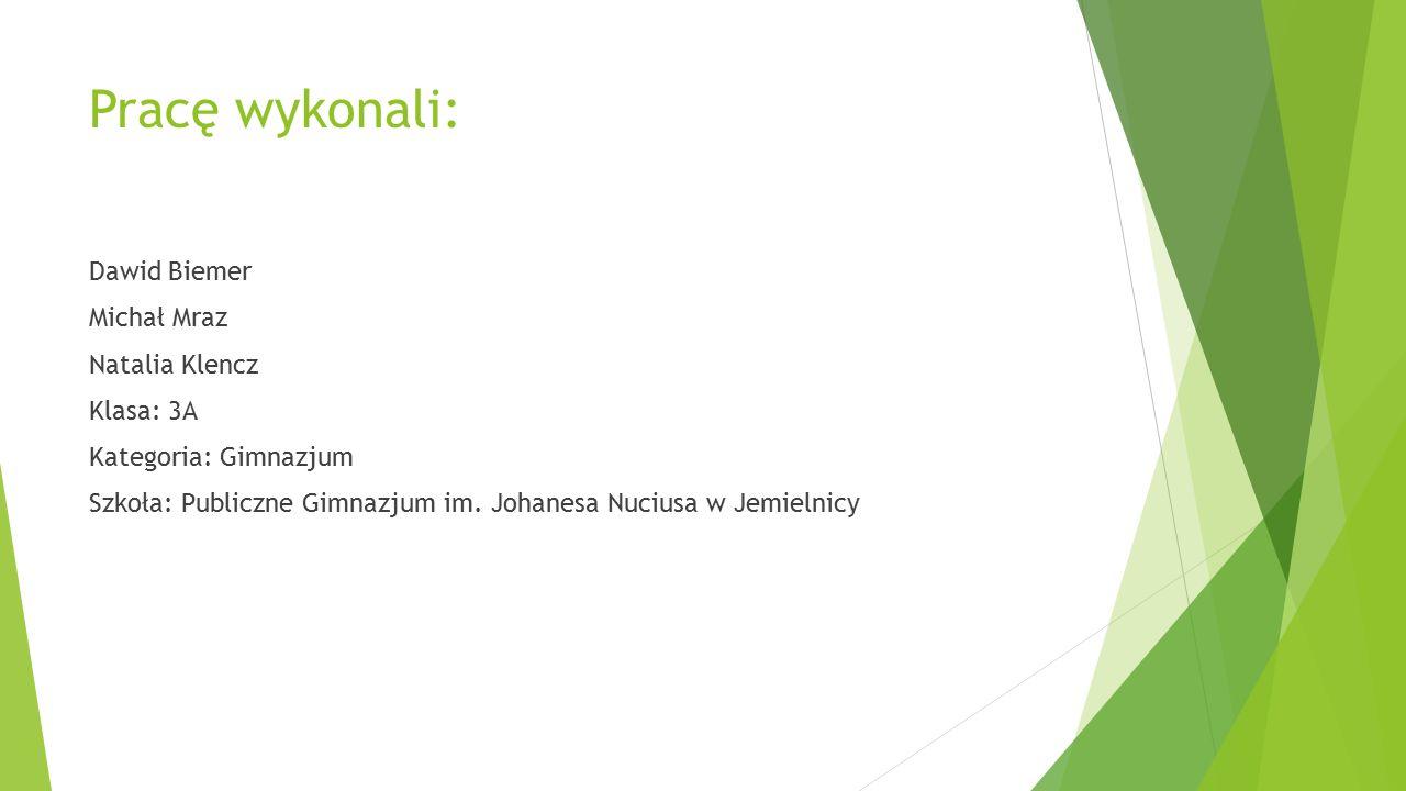 Pracę wykonali: Dawid Biemer Michał Mraz Natalia Klencz Klasa: 3A Kategoria: Gimnazjum Szkoła: Publiczne Gimnazjum im. Johanesa Nuciusa w Jemielnicy