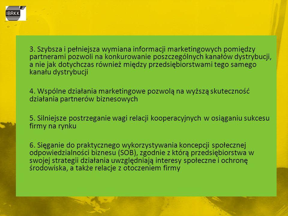 3. Szybsza i pełniejsza wymiana informacji marketingowych pomiędzy partnerami pozwoli na konkurowanie poszczególnych kanałów dystrybucji, a nie jak do