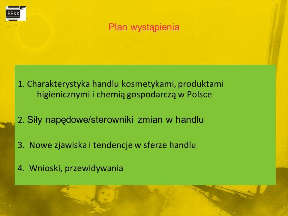 1. Charakterystyka handlu kosmetykami, produktami higienicznymi i chemią gospodarczą w Polsce 2. Siły napędowe/sterowniki zmian w handlu 3. Nowe zjawi