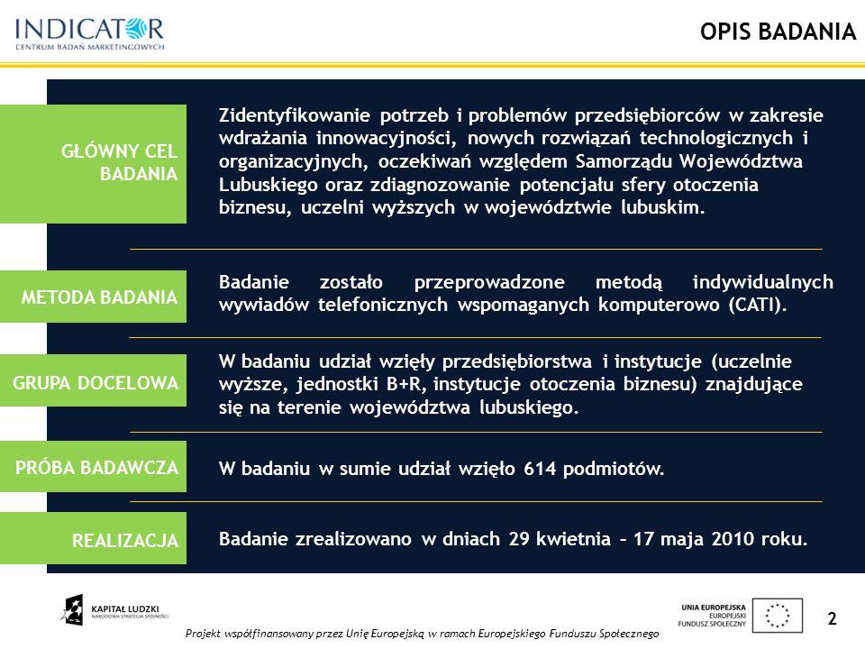 Projekt współfinansowany przez Unię Europejską w ramach Europejskiego Funduszu Społecznego 2 OPIS BADANIA Badanie zostało przeprowadzone metodą indywidualnych wywiadów telefonicznych wspomaganych komputerowo (CATI).