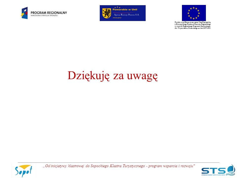 """Projekt współfinansowany przez Unię Europejską z Europejskiego Funduszu Rozwoju Regionalnego w ramach Regionalnego Programu Operacyjnego dla Województwa Pomorskiego na lata 2007-2013 """"Od inicjatywy klastrowej do Sopockiego Klastra Turystycznego - program wsparcia i rozwoju Dziękuję za uwagę"""