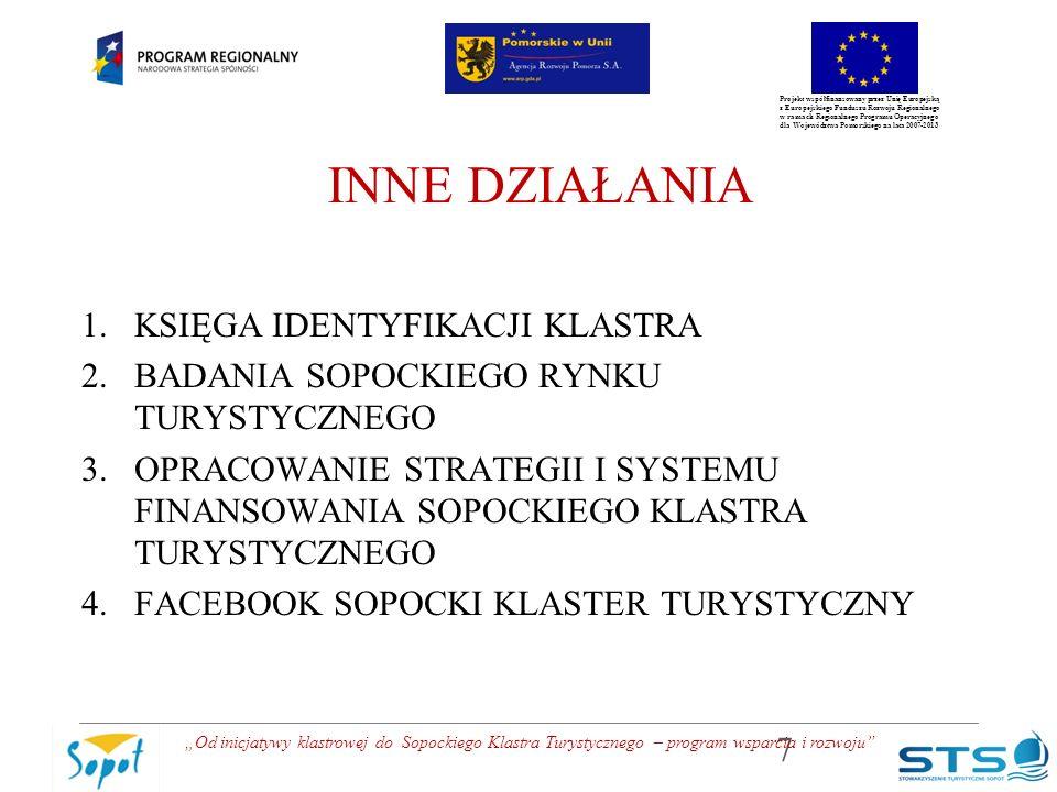 """Projekt współfinansowany przez Unię Europejską z Europejskiego Funduszu Rozwoju Regionalnego w ramach Regionalnego Programu Operacyjnego dla Województwa Pomorskiego na lata 2007-2013 INNE DZIAŁANIA 1.KSIĘGA IDENTYFIKACJI KLASTRA 2.BADANIA SOPOCKIEGO RYNKU TURYSTYCZNEGO 3.OPRACOWANIE STRATEGII I SYSTEMU FINANSOWANIA SOPOCKIEGO KLASTRA TURYSTYCZNEGO 4.FACEBOOK SOPOCKI KLASTER TURYSTYCZNY 7 """"Od inicjatywy klastrowej do Sopockiego Klastra Turystycznego – program wsparcia i rozwoju"""