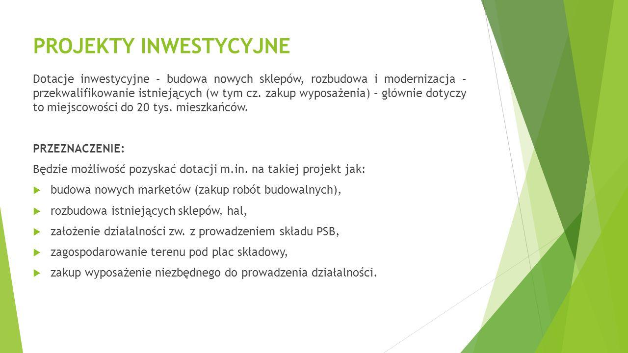 PROJEKTY INWESTYCYJNE Dotacje inwestycyjne – budowa nowych sklepów, rozbudowa i modernizacja – przekwalifikowanie istniejących (w tym cz.