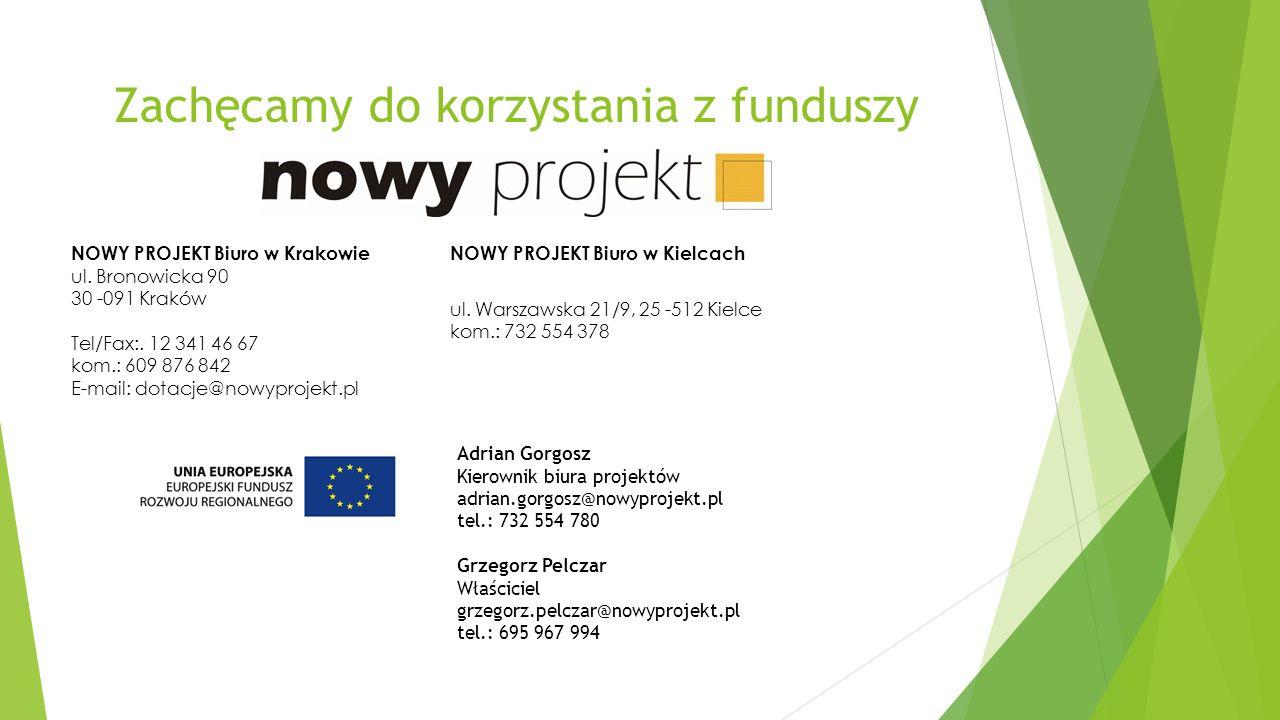 Zachęcamy do korzystania z funduszy NOWY PROJEKT Biuro w Krakowie ul.