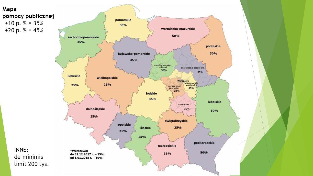 Mapa pomocy publicznej +10 p. % = 35% +20 p. % = 45% INNE: de minimis limit 200 tys.
