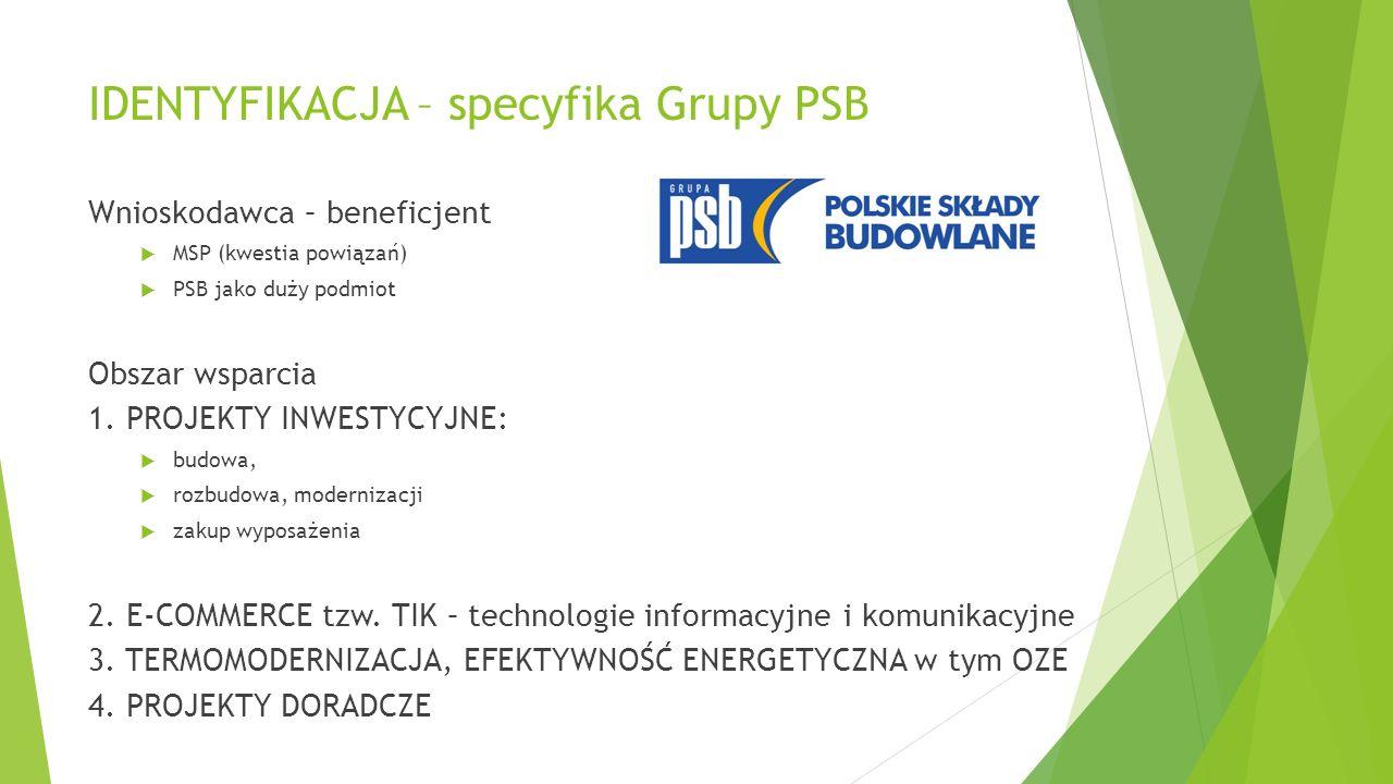 IDENTYFIKACJA – specyfika Grupy PSB Wnioskodawca – beneficjent  MSP (kwestia powiązań)  PSB jako duży podmiot Obszar wsparcia 1.