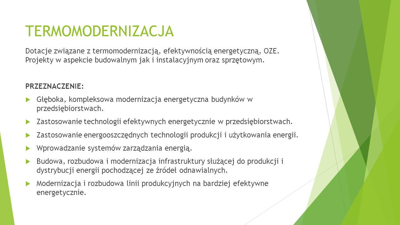 TERMOMODERNIZACJA Dotacje związane z termomodernizacją, efektywnością energetyczną, OZE.