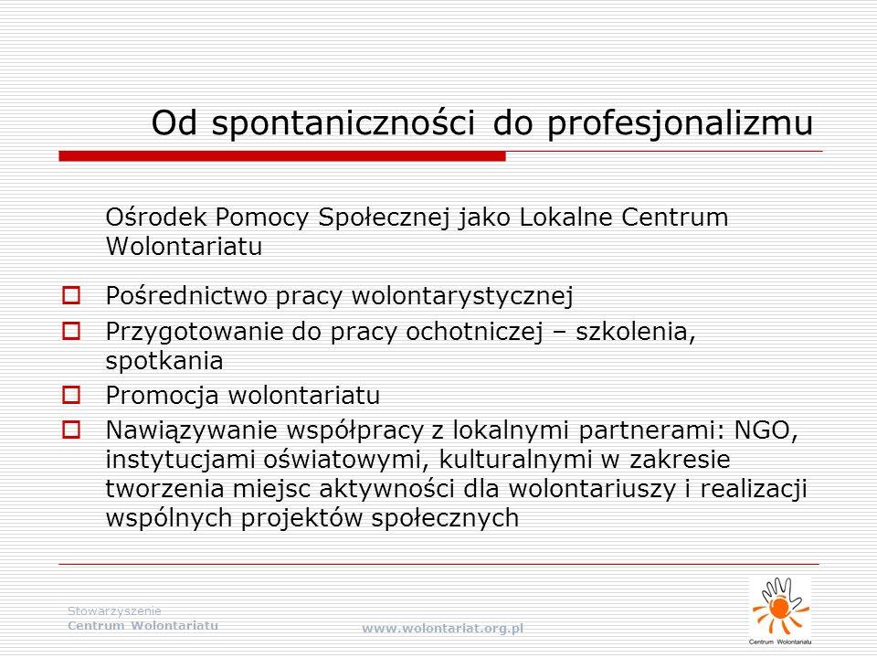 Stowarzyszenie Centrum Wolontariatu www.wolontariat.org.pl Od spontaniczności do profesjonalizmu Ośrodek Pomocy Społecznej jako Lokalne Centrum Wolont