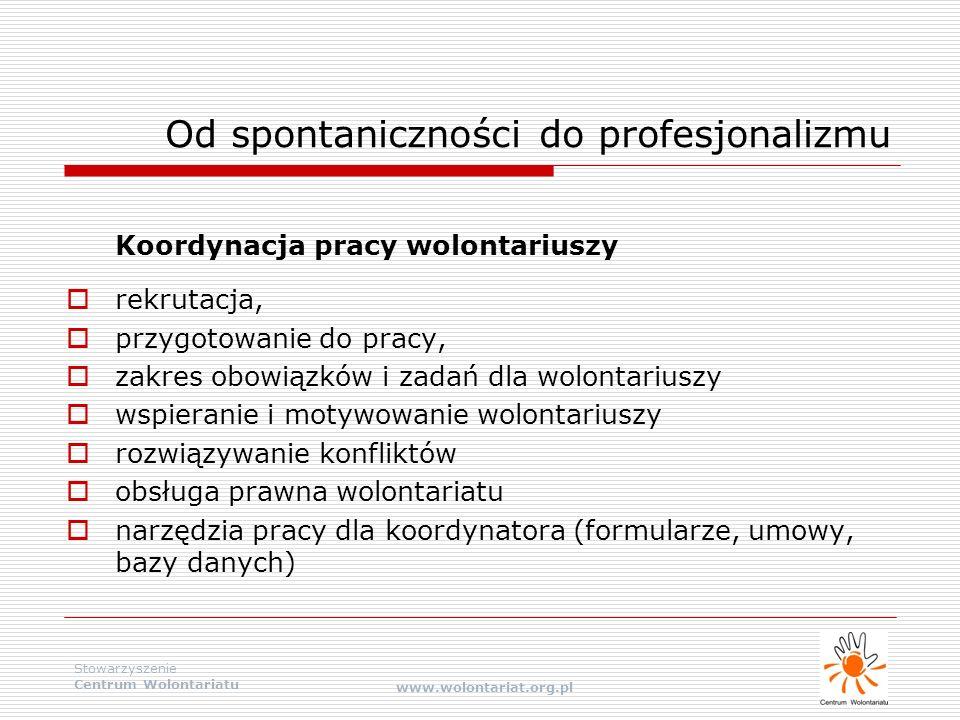 Stowarzyszenie Centrum Wolontariatu www.wolontariat.org.pl Koordynacja pracy wolontariuszy  rekrutacja,  przygotowanie do pracy,  zakres obowiązków