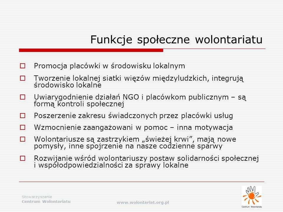 Stowarzyszenie Centrum Wolontariatu www.wolontariat.org.pl Funkcje społeczne wolontariatu  Promocja placówki w środowisku lokalnym  Tworzenie lokaln