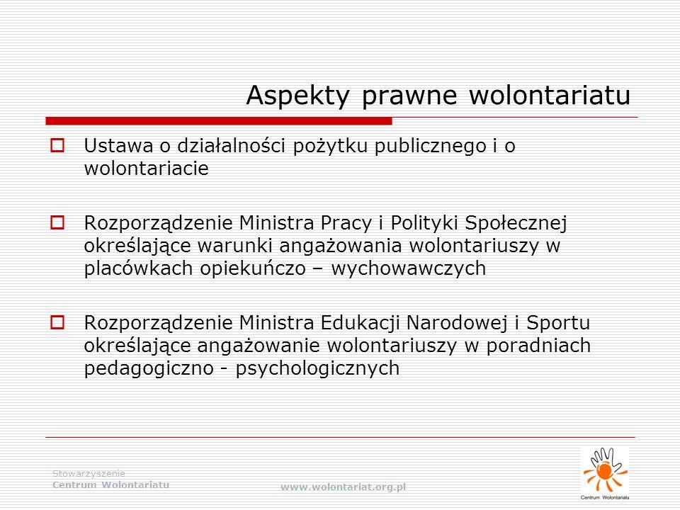 Stowarzyszenie Centrum Wolontariatu www.wolontariat.org.pl  Ustawa o działalności pożytku publicznego i o wolontariacie  Rozporządzenie Ministra Pra