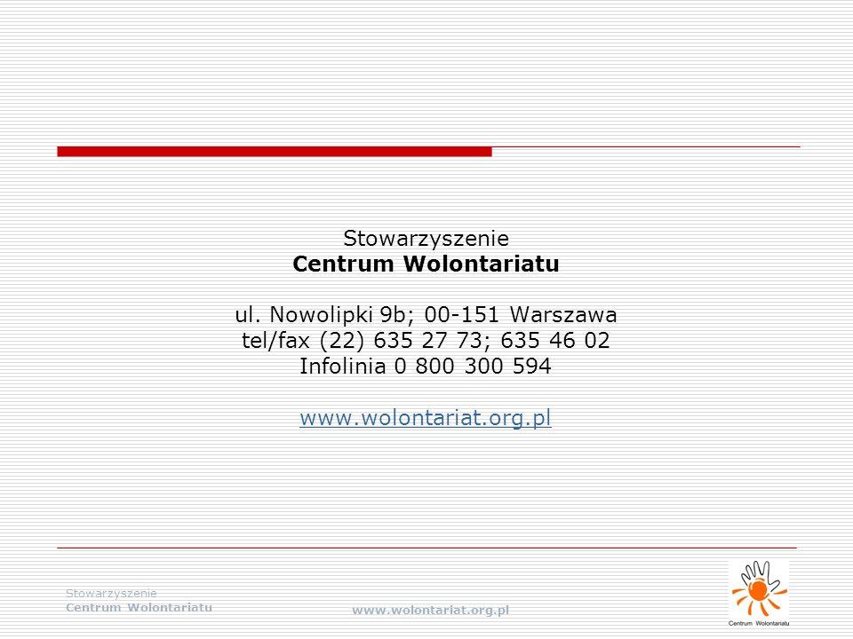 Stowarzyszenie Centrum Wolontariatu www.wolontariat.org.pl Stowarzyszenie Centrum Wolontariatu ul. Nowolipki 9b; 00-151 Warszawa tel/fax (22) 635 27 7
