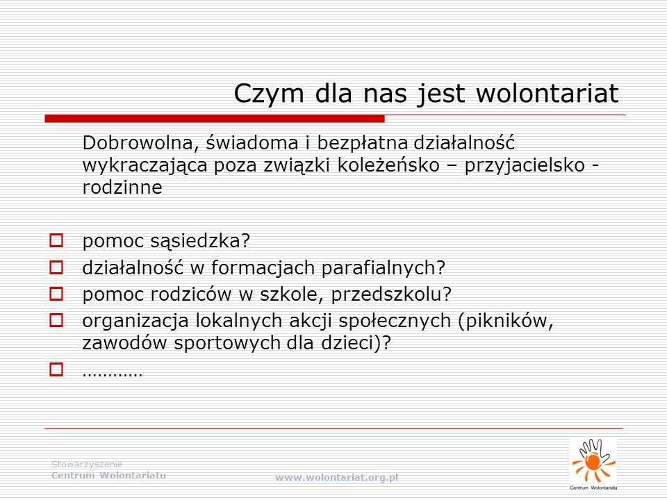 Stowarzyszenie Centrum Wolontariatu www.wolontariat.org.pl Czym dla nas jest wolontariat Dobrowolna, świadoma i bezpłatna działalność wykraczająca poz